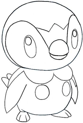 How to Draw Piplup from Pokemon with Easy Step by Step Drawing Lesson