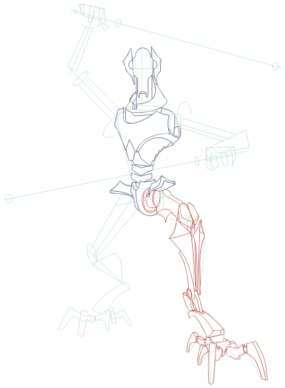 how to draw general grievous from star wars step by step