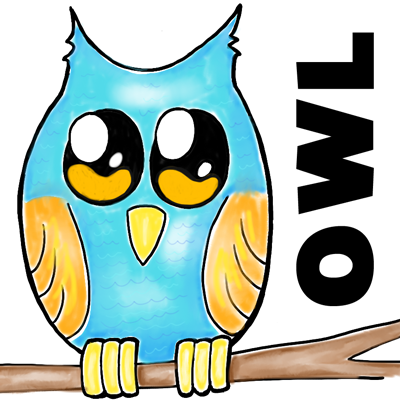 How to Draw Cartoon Owl on Branch Easy Step by Step  Drawing Tutorial for Kids