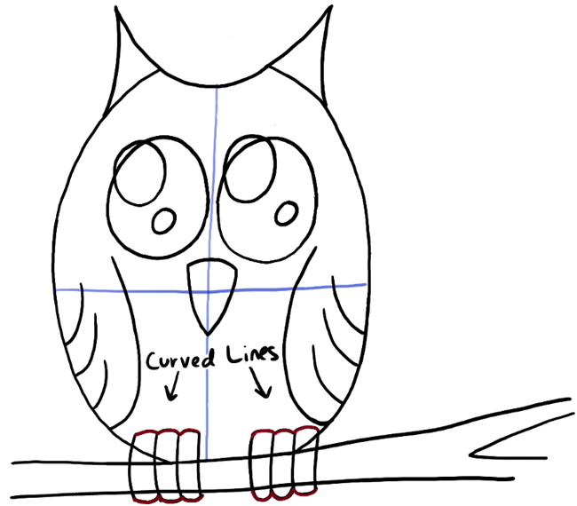 Owl Claws Drawing Step07-owl-on-branch