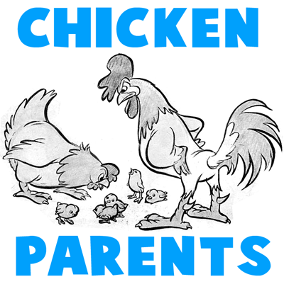 How to Draw Cartoon Chickens with a Hen, a Rooster, and Baby Chicks