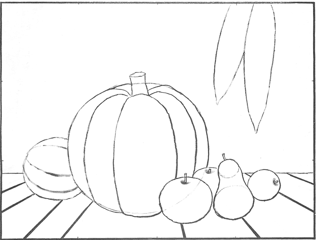 Contour Line Drawing Pumpkin : How to draw an autumn still life harvest scene for
