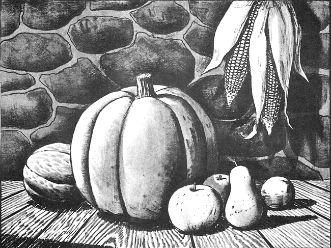 Finished Black and White Drawing of an Autumn Harvest Scene with Pumpkins / Corn, and Fruit