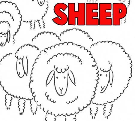 How to Draw Sheep & Lambs in a Meadow - Simple for Young Kids and Preschoolers