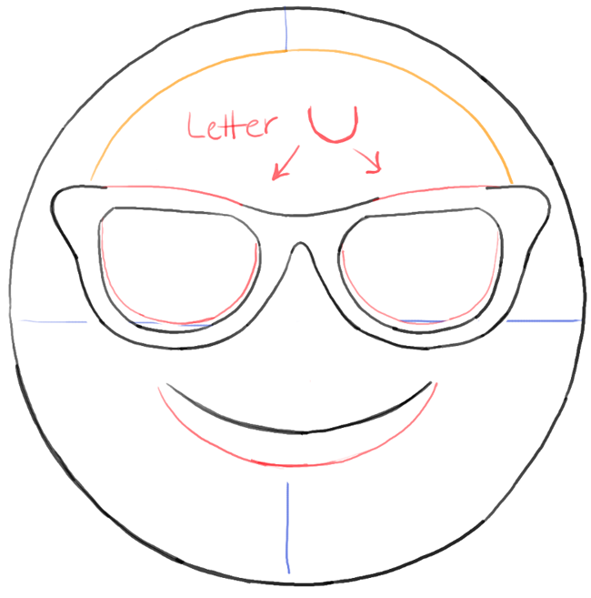 Step06 bw drawing sun glasses emoji face