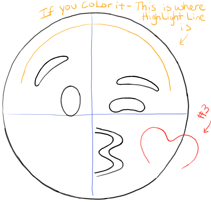Line Drawing Emoji : How to draw kissing heart emoji face with easy steps