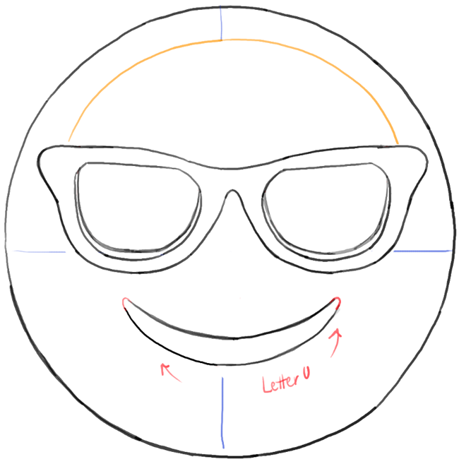 Drawing Of Sunglasses  how to draw sunglasses emoji face with easy steps tutorial how