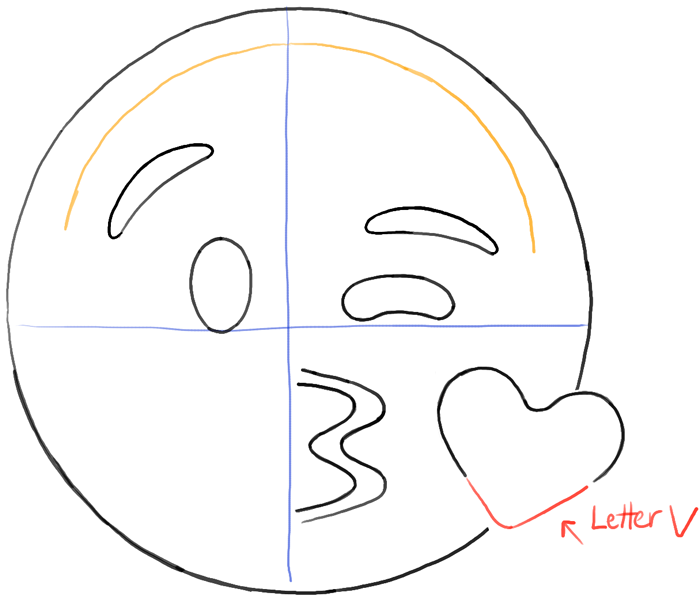 How To Draw Kissing Heart Emoji Face With Easy Steps Drawing