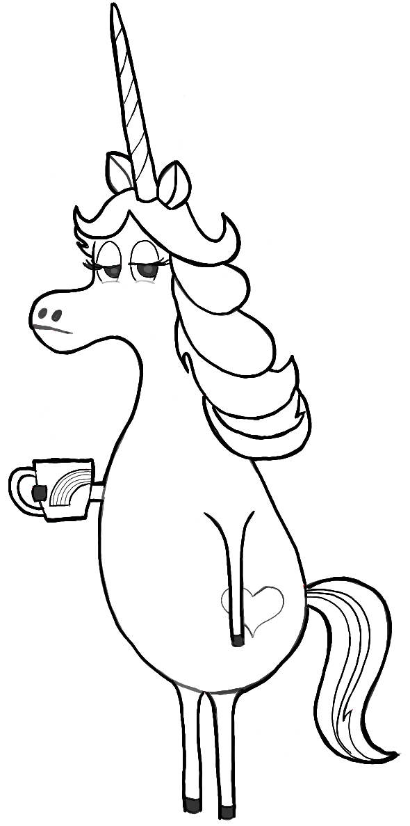 Finished Black and White Line Drawing of Rainbow Unicorn