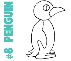 How to Draw a Cartoon Penguin with a Number Eight