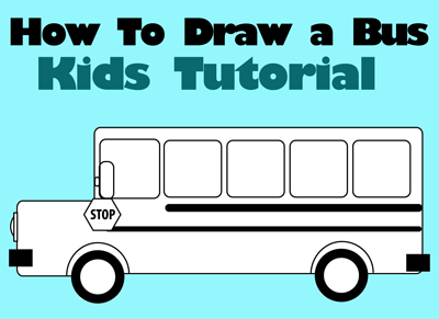 how to draw school busses simple step by step drawing lesson for children