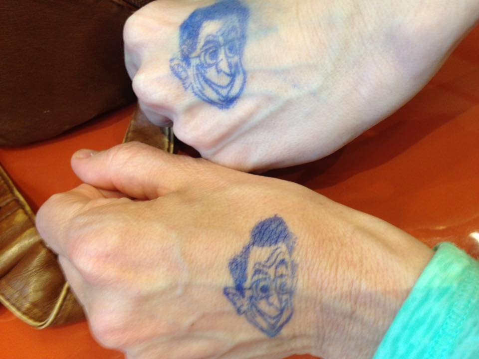 We got stephen colbert's face stamped on our hands