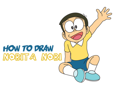 How to Draw Nobita Nobi from Doraemon with Simple Step by Step Drawing Lesson