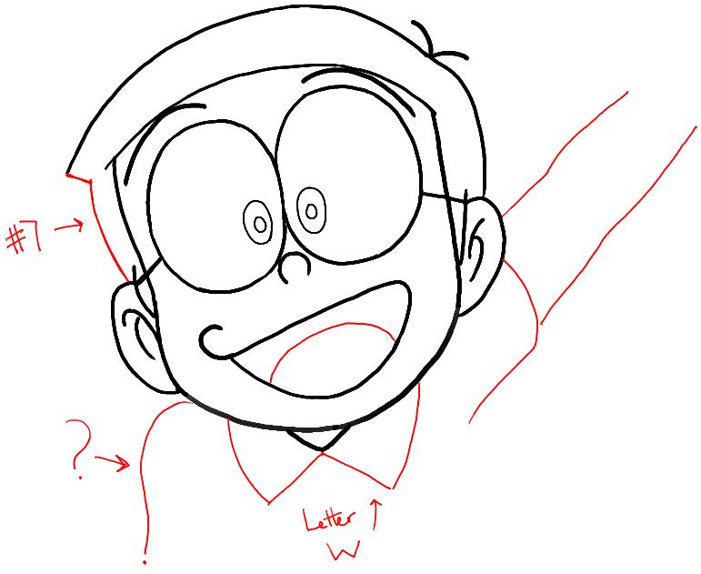 step05-how-to-draw-Nobita-Nobi-from-doraemon